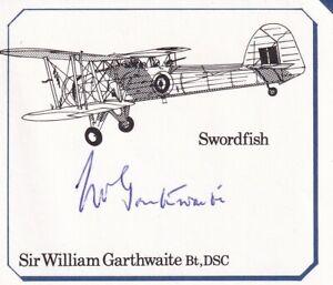 Piece Signed by Sir W Garthwaite FAA Pilot attacked Bismarck   Photo ,Details