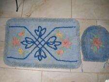Vintage 1950'S Blue Chenille Bath Room Set Rug & Toilet Lid Cover Bath Mat