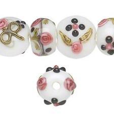 8467 Glass Lampwork Beads Coin & Rondelle Pink Floral PK10  *UK EBAY SHOP*
