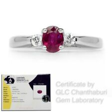 Certified 0.46ct Natural Unheated Red Ruby Ring With Zircon in 925 Silver