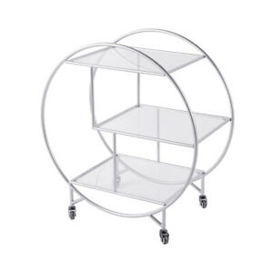 Large Round 3 Tier Silver Drinks Trolley w/ Glass Shelves Mini Bar Cocktail Cart