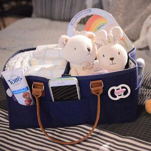 Baby Diaper Caddy Organizer Comfy Carry Nursery Bin – Unisex Dark Blue Portable