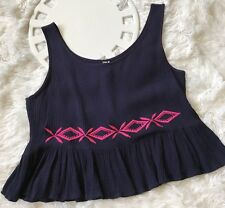 PAPER CRANE Women's NAVY PINK Crinkle Cropped Ruffled Hem Embroidered Top Size M