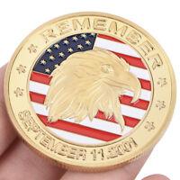 États-Unis 11 septembre plaqué or médaille commémorative américain défi Eagle 9H