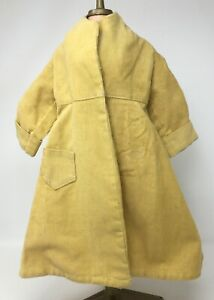 "Vintage Yellow Long Corduroy Doll Jacket Coat 13 1/2"" Long Clothing"