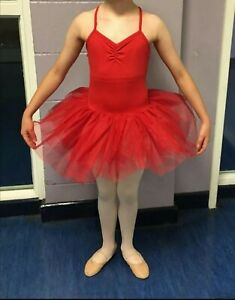 Childs dance costume Red Leotard Tutu Approximately Age 9