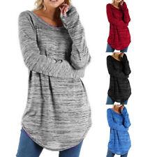 Damen Langarm Sweatshirt Bluse Longshirt Longtop Freizeit Tunika Oberteile Tops