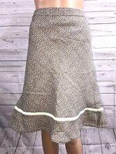 Gap Wool Blend Skirt Size 10 Pale Brown Mint Green Tweed Plaid Flare Knee Length