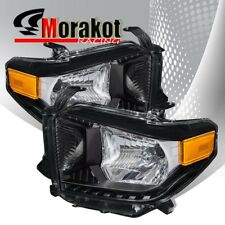 For 14-17 Toyota Tundra Pair Black Housing Headlights Amber Reflector Lamps