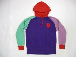 Teddy Fresh Color Block Purple Red Green Hoodie Sweatshirt Size Large EUC