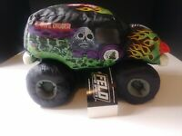 """New MONSTER JAM 10"""" GRAVE DIGGER PLUSH Green 4 Time Cham Bad To The Bone 2013"""