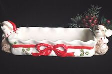 Vintage Christmas MOUSE Cracker Tray Hand Painted Candy Dish Business Cards