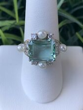 Ring Bomb Party Size 8 Paris Collection Aquamarine And Pearl Ring