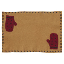 Primitive Country Rustic Warm Wishes Felt Christmas Placemat W/ Mitten Applique
