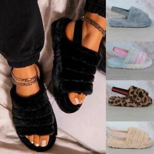 Ladies Fur Fluffy Sliders Mules Slip On Women Slippers Flat Winter Sandals Shoes