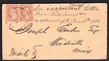 US 1956 RARE NEW ORLEANS BALLOON CANCEL USED ONLY FOR SIX MONTHS JAN-JUNE 1856