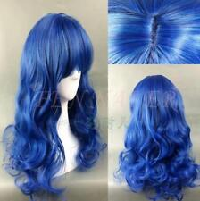 Punk cool gradient cosplay wig blue mixed fashion neat bang long curly female