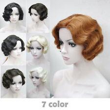 7 colors Women's ladies Short Finger Wave Ladies Daily Hair wigs+a wig cap #33