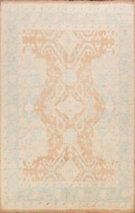 Muted Geometric Oushak Turkish Area Rug Vegetable Dye Hand-knotted Wool 8x10 New