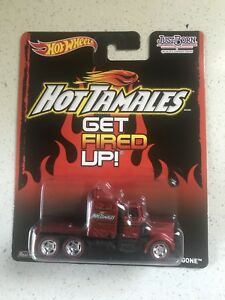 Hot Wheels 1:64 Pop Culture Just Born Hot Tomales Long Gone Red w/ Real Riders