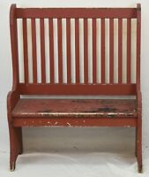 NEW ENGLAND PRIMITIVE DEACON BENCH IN RED PAINT