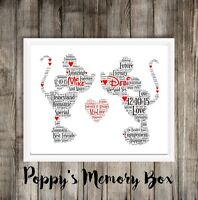 Personalised Disney Mickey/Minnie Wedding Engagement Christmas Word Art Gift