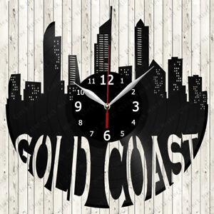 Gold Coast Skyline Vinyl Record Wall Clock Decor Handmade 6346