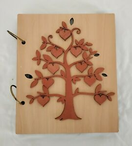 Wood Photo Album Family Tree Ring Bound 30 Pages Holds 4X6 Photos 120 Capacity