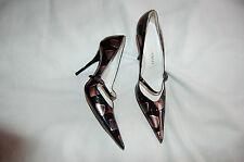 Vivien Lee Black/Salmon Patent Leather Stiletto Pumps Heels Shoes Size 35 Italy