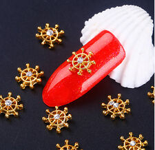 10 x Timón de Barco Diamantes Para Manicura Decoración de Uñas ~ Rudder Nail Art