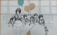 Rare Pen/Ink/Watercolor Drawing of Mother and Children - by Corso