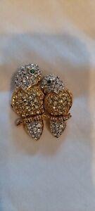 Signed Swarovski Gold Tone Clear Pave Crystal Gemstone Lovebirds Brooch RETIRED
