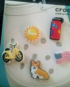 Pick from Corgi, Water Bottle, Sun, Bicycle, American Flag Clog Shoe Charm NWOT