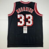 Autographed/Signed ALONZO MOURNING Miami Black Basketball Jersey JSA COA Auto