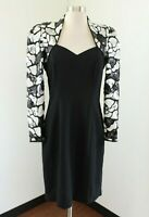 Vtg 90s Morton Myles Black Sequin Beaded Cocktail Party Evening Dress Gray Sz 8