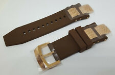 Invicta Subaqua Noma III Brown Polyurethane Strap Band Rose Gold Inserts