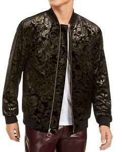 INC Mens Jackets Black Size XL Velvet Damask Printed Full Zip Bomber $129 238