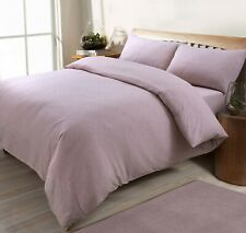Jersey Melange Plain Yarn Dyed Grey Charcoal Duvet Cover Bed Set & Pillowcases