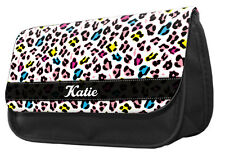 PERSONALISED Pencil Case - Rainbow leopard print make up bag mum daughter #109