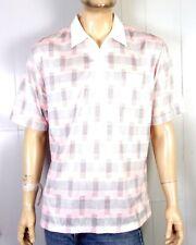 vtg 70s 80s Sansabelt Sport Retro Pink Gray Polo Shirt Pocket Geometric Golf Xl