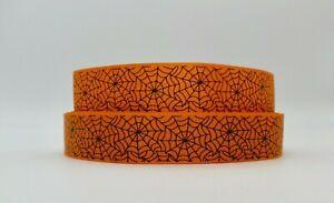 Orange and Black Spider web 25mm Grosgrain Ribbon per metre