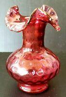 "Vintage FENTON Art Glass 7"" Cranberry Coin Dot Spot Vase Crimped Ruffled Top"