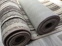 TWO CARPET RUNNERS, BEIGE STRIPE SOFT PILE GOOD QUALITY  COULD FIT STAIRS  #6001