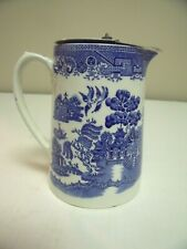 English Myott Blue Willow Pitcher With Pewter Lid