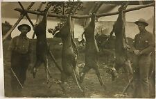 RPPC Real Photo Postcard ~ Two Men With Rifles & Four Deer ~ Hunting  Hunters