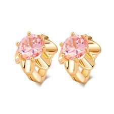 Girls child Pink crystal sunflower gold filled womens Cute small hoop earrings