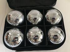 6 ball 73mm Metal Boules / Petanque set - 6 silver balls (2 stripes) - lbag