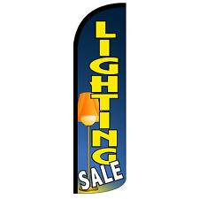 Lighting Sale Windless Swooper Feather Flag Tall Banner Sign 3' Wide Blue Yellow