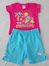 BNWT Baby Girls Sz 000 Aqua Soft Stretch Shorts & Hot Pink Top Summer Outfit