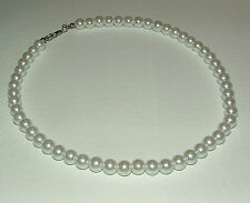 WHITE GLASS PEARL NECKLACE SILVER PLATED CLASP WEDDING 16 INCHES PRL fancy clasp